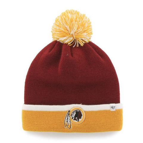 Shop Washington Redskins 47 Brand Red Yellow Baraka Knit Cuff Poofball Beanie Hat Cap - Sporting Up
