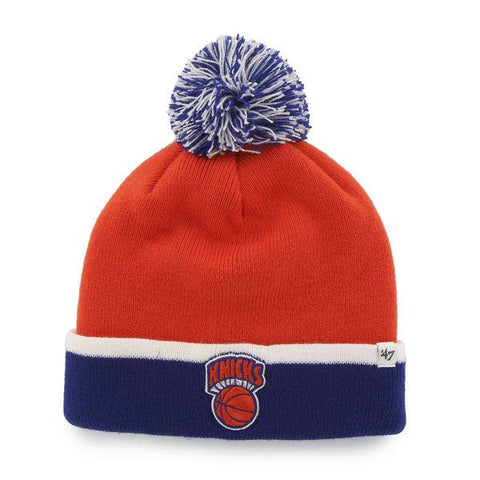 New York Knicks 47 Brand Orange Blue Baraka Retro 1964 Poofball Beanie Hat Cap