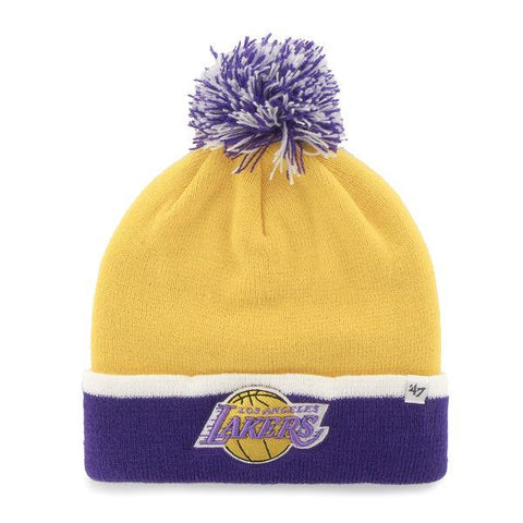 Shop Los Angeles Lakers 47 Brand Yellow Purple Baraka Retro 1967 Poof Beanie Hat Cap