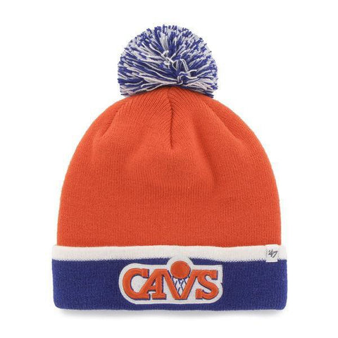 Shop Cleveland Cavaliers 47 Brand Orange Blue Baraka Retro 1987 Poof Beanie Hat Cap