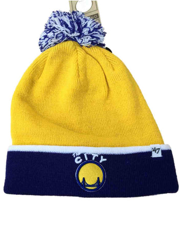 Shop Golden State Warriors 47 Brand Yellow Blue Baraka Retro 1962 Poof Beanie Hat Cap