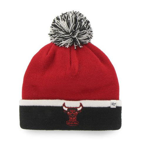 Shop Chicago Bulls 47 Brand Red Black Baraka Retro 1984 Cuff Poofball Beanie Hat Cap - Sporting Up