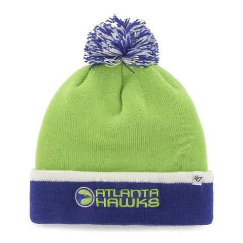 Shop Atlanta Hawks 47 Brand Lime Green Blue Baraka Retro 1970 Poofball Beanie Hat Cap
