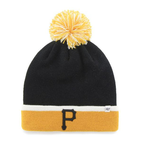 Pittsburgh Pirates 47 Brand Black Gold Baraka Knit Cuff Poofball Beanie Hat Cap - Sporting Up