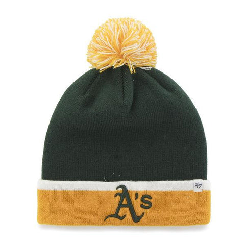 Shop Oakland Athletics 47 Brand Green Gold Baraka Knit Cuff Poofball Beanie Hat Cap - Sporting Up
