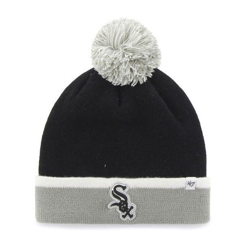 Chicago White Sox 47 Brand Black Gray Baraka Knit Cuffed Poofball Beanie Hat Cap - Sporting Up