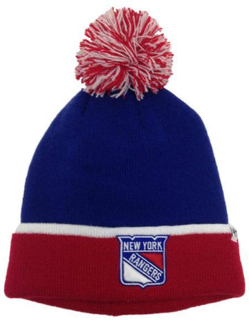 Shop New York Rangers 47 Brand Blue Red Baraka Knit Cuffed Poofball Beanie Hat Cap - Sporting Up