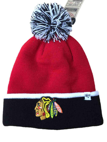 Shop Chicago Blackhawks 47 Brand Red Black Baraka Knit Cuffed Poofball Beanie Hat Cap - Sporting Up