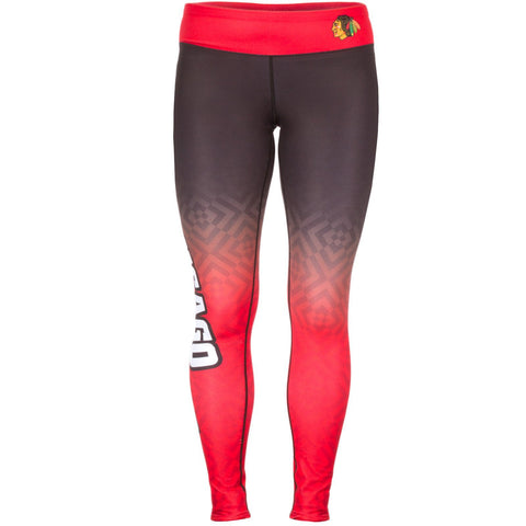 Shop Chicago Blackhawks FC Women Black Red Workout Performance Leggings