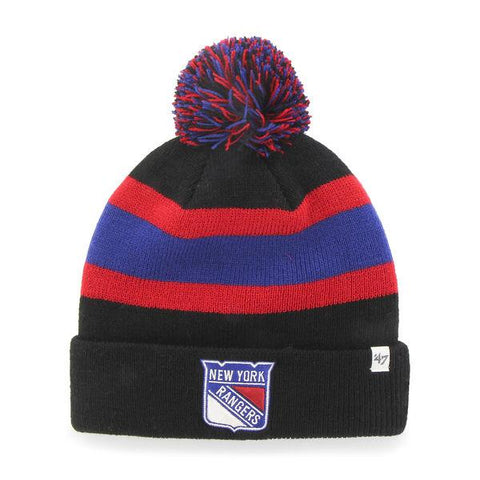 Shop New York Rangers 47 Brand Black Breakaway Knit Cuffed Poofball Beanie Hat Cap - Sporting Up
