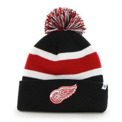 Shop Detroit Red Wings 47 Brand Black Breakaway Knit Cuffed Poofball Beanie Hat Cap - Sporting Up