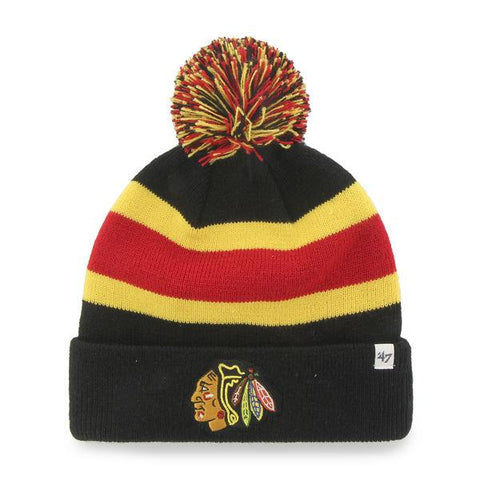 Shop Chicago Blackhawks 47 Brand Black Breakaway Knit Cuffed Poofball Beanie Hat Cap - Sporting Up