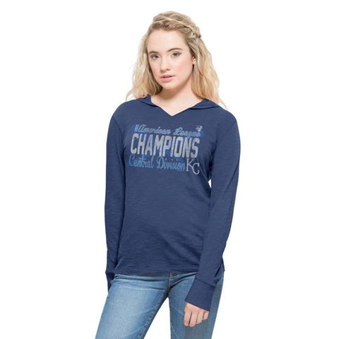 Shop Kansas City Royals 47 Brand 2015 AL Central Champions Womens V-Neck Hoodie Shirt - Sporting Up