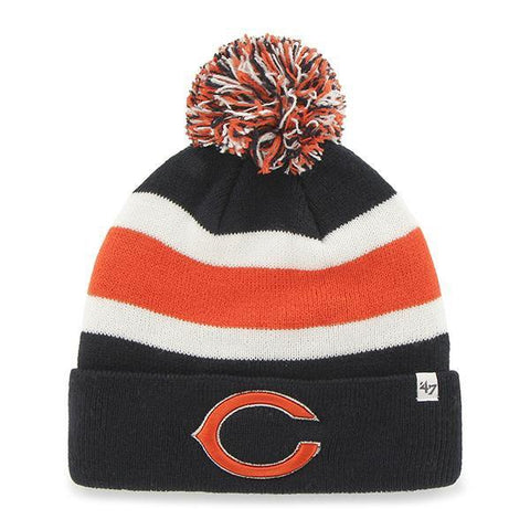 Shop Chicago Bears 47 Brand Tri-Tone Breakaway Knit Cuffed Beanie Poofball Hat Cap