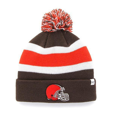 Shop Cleveland Browns 47 Brand Tri-Tone Breakaway Knit Cuffed Beanie Poofball Hat Cap