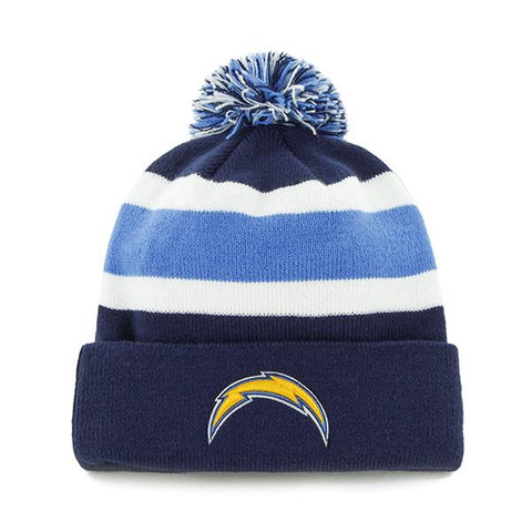 Shop Los Angeles Chargers 47 Brand Tri-Tone Breakaway Cuffed Beanie Poofball Hat Cap