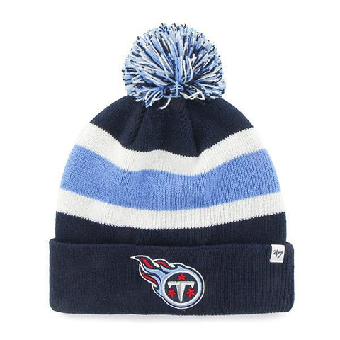 Shop Tennessee Titans 47 Brand Tri-Tone Breakaway Cuffed Beanie Poofball Hat Cap - Sporting Up