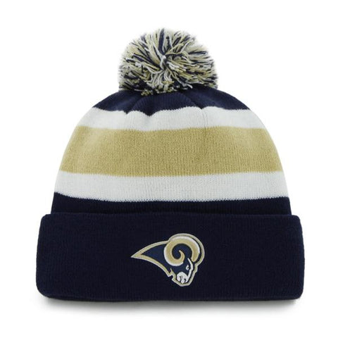 Shop Los Angeles Rams 47 Brand Tri-Tone Breakaway Knit Cuffed Poofball Beanie Hat Cap