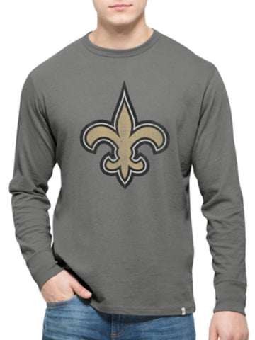 Shop New Orleans Saints 47 Brand Wolf Grey Long Sleeve Cotton Flanker T-Shirt