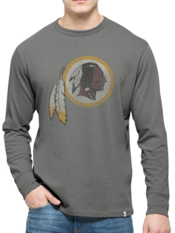 Shop Washington Redskins 47 Brand Wolf Grey Long Sleeve Cotton Flanker T-Shirt