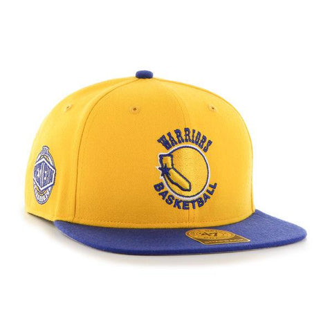 ddb7dcb55c4 Golden State Warriors 47 Brand Gold Blue Retro 1972 Sure Shot Adj Snap Hat  Cap
