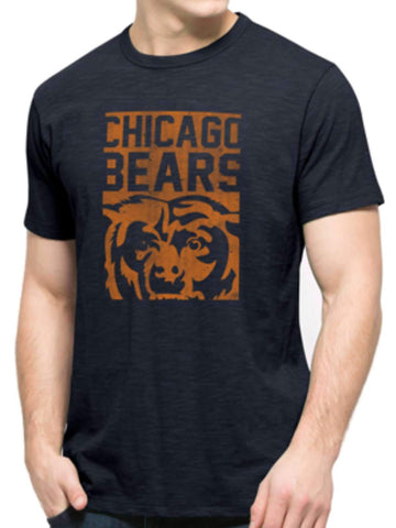 Shop Chicago Bears 47 Brand Navy Legacy Block Logo Soft Cotton Scrum T-Shirt
