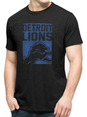 Shop Detroit Lions 47 Brand Jet Black Block Logo Soft Cotton Scrum T-Shirt