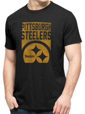 Pittsburgh Steelers 47 Brand Black Block Logo Soft Cotton Scrum T-Shirt