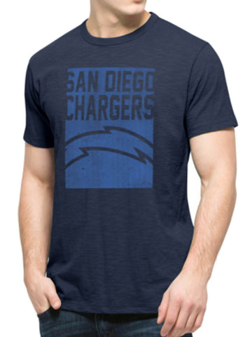 Shop San Diego Chargers 47 Brand Navy Block Logo Soft Cotton Scrum T-Shirt