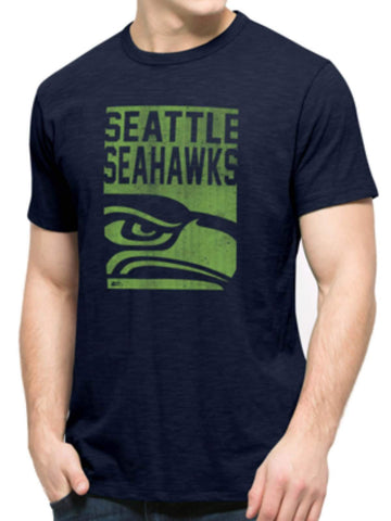 Shop Seattle Seahawks 47 Brand Navy Block Logo Soft Cotton Scrum T-Shirt - Sporting Up