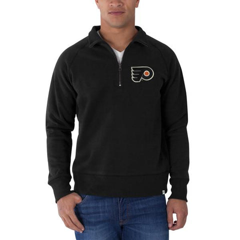 Shop Philadelphia Flyers 47 Brand Black Cross-Check 1/4-Zip Pullover Sweatshirt - Sporting Up