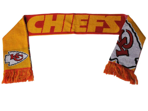 Shop Kansas City Chiefs FC Red Gold Reversible Split Logo Acrylic Knit Winter Scarf