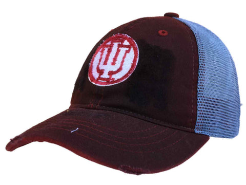 Shop Indiana Hoosiers Retro Brand Red Worn Mesh Vintage Adjust Snapback Hat Cap - Sporting Up