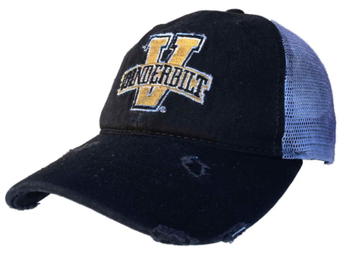 Vanderbilt Commodores Retro Brand Black Worn Mesh Vintage Adj Snap Hat Cap
