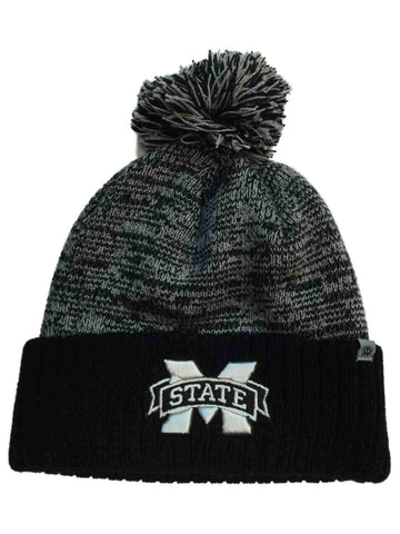 Shop Mississippi State Bulldogs TOW Black Gray Dense Cuffed Beanie Hat Cap w/ Poof