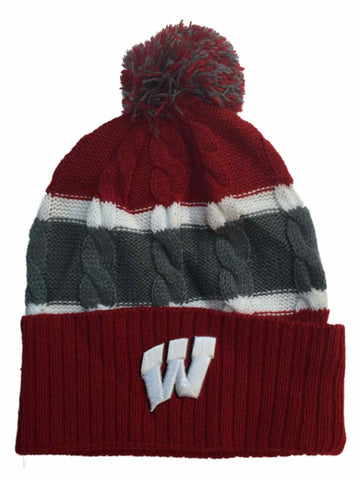 Shop Wisconsin Badgers TOW YOUTH Red Striped Cable Windy Cuff Beanie Hat Cap