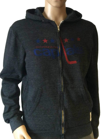 Shop Washington Capitals Retro Brand Gray TriBlend Fleece Zip Up Hoodie Jacket