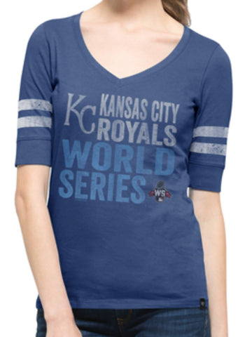 Shop Kansas City Royals 47 Brand Women 2015 World Series Blue V-Neck T-Shirt