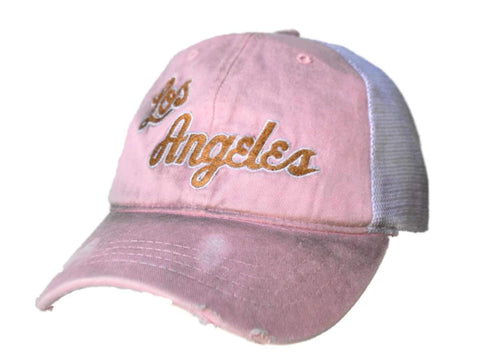 Shop Los Angeles Lakers Retro Brand Women Pink Worn Vintage Mesh Snapback Hat Cap