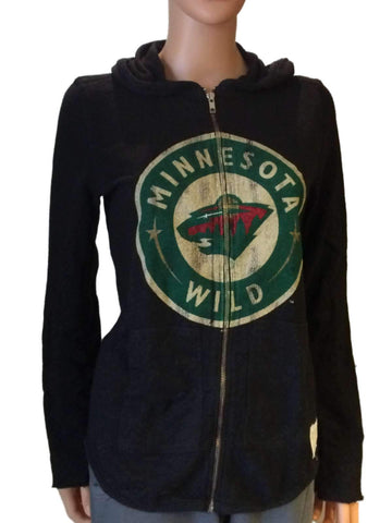 Minnesota Wild Retro Brand Women Black Quad Blend Zip Up Hoodie Jacket