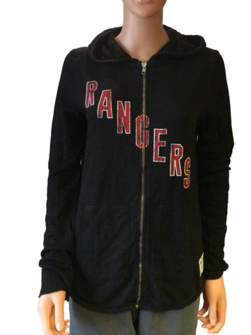 Shop New York Rangers Retro Brand Women Black Quad Blend Full Zip Hoodie Jacket