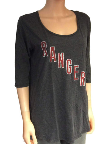Shop New York Rangers Retro Brand Women Gray 3/4 Sleeve Scoop Boyfriend T-Shirt