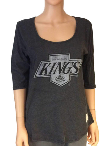 Shop Los Angeles Kings Retro Brand Women Gray 3/4 Sleeve Boyfriend T-Shirt