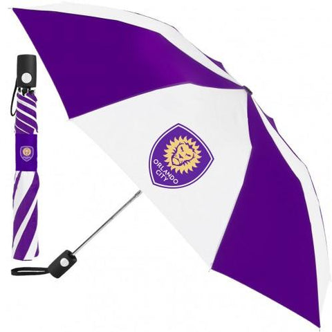 "Shop Orlando City SC MLS WinCraft Purple White 42"" Automatic Folding Umbrella"