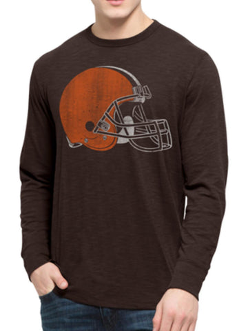 Shop Cleveland Browns 47 Brand Chocolate Brown Long Sleeve Soft Scrum T-Shirt