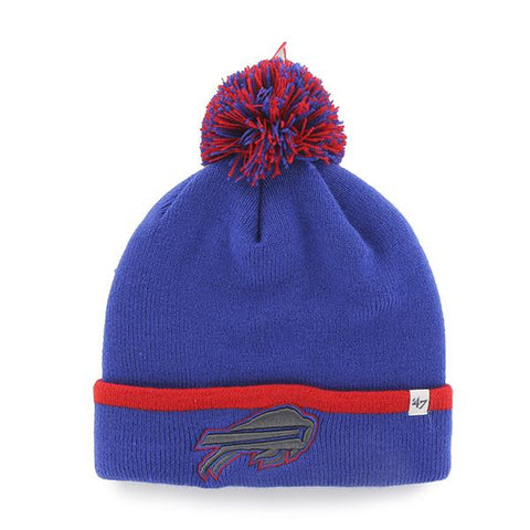 Buffalo Bills 47 Brand Blue Red Baraka Knit Cuffed Poofball Beanie Hat Cap