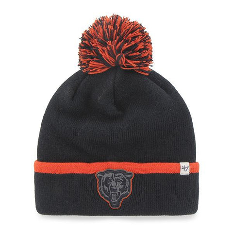 Chicago Bears 47 Brand Navy Orange Baraka Knit Cuffed Poofball Beanie Hat Cap - Sporting Up