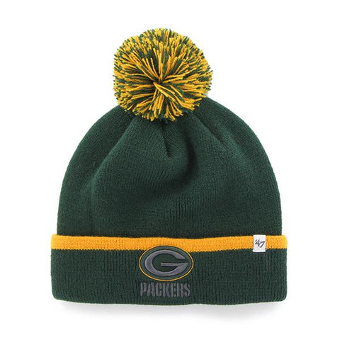 Shop Green Bay Packers 47 Brand Green Gold Baraka Knit Cuffed Poofball Beanie Hat Cap