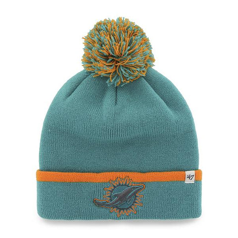 Miami Dolphins 47 Brand Teal Orange Baraka Knit Cuffed Poofball Beanie Hat Cap