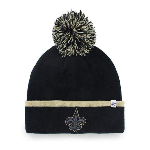 New Orleans Saints 47 Brand Black Gold Baraka Knit Cuff Poofball Beanie Hat Cap